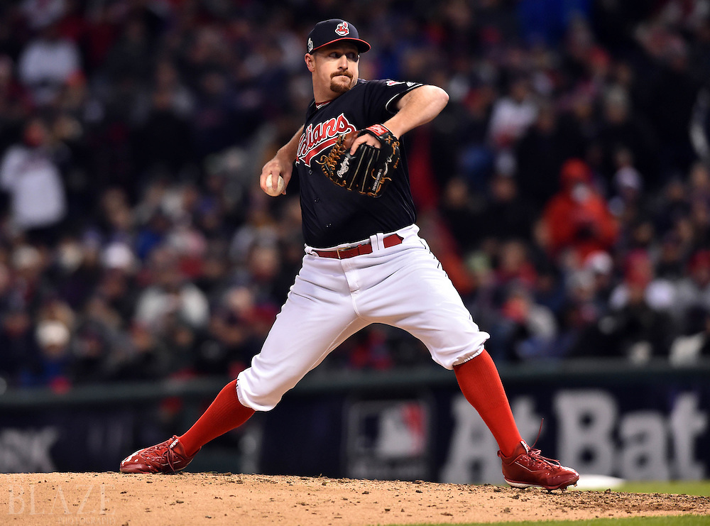 Oct 26, 2016; Cleveland, OH, USA; Cleveland Indians relief pitcher Bryan Shaw throws a pitch against the Chicago Cubs in the 5th inning in game two of the 2016 World Series at Progressive Field. Mandatory Credit: Ken Blaze-USA TODAY Sports