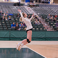 4th year outside hitter Leah Sywanyk (3) of the Regina Cougars in action during Women's Volleyball home game on February 2 at Centre for Kinesiology, Health and Sport. Credit: Arthur Ward/Arthur Images
