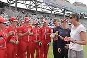 Lucy Pearson a board director for the ECB and former England international gives some words of advice to the Thunder before the Women's Cricket Super League match between Lancashire Thunder and Surrey Stars at the Emirates, Old Trafford, Manchester, United Kingdom on 7 August 2018.