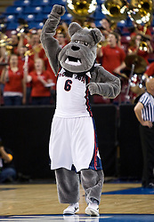 March 27, 2010; Sacramento, CA, USA; The Gonzaga Bulldogs mascot performs during the first half against the Xavier Musketeers in the semifinals of the Sacramental regional in the 2010 NCAA womens basketball tournament at ARCO Arena. Xavier defeated Gonzaga 74-56.