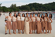 Ko Lipe, Thailand. A wedding party at Pattaya beach.