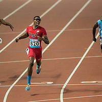 Noah Lyles of USA (C), Chad Walker (L) of Jamaica and Baboloki Thebe (R) of Botswana compete in the Men's 200 m at the Nanjing Youth Olympic Games 2014 in Nanjing, China, 24 August 2014. The Nanjing Youth Olympic Games 2014 run from 16 to 28 August 2014.