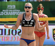 STARE JABLONKI POLAND - July 6: Karla Borger of Germany  in action during Day 6 of the FIVB Beach Volleyball World Championships on July 6, 2013 in Stare Jablonki Poland.  (Photo by Piotr Hawalej)