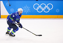 GANGNEUNG, SOUTH KOREA - FEBRUARY 17: Blaz Gregorc of Slovenia during the ice hockey match between Slovenia and Slovakia in  the Preliminary Round on day eight of the PyeongChang 2018 Winter Olympic Games at Kwangdong Hockey Centre on February 17, 2018 in Gangneung, South Korea. Photo by Kim Jong-man / Sportida