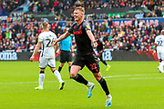 Goal Stoke City midfielder Sam Clucas (22) scores a goal and celebrates 1-1 during the EFL Sky Bet Championship match between Swansea City and Stoke City at the Liberty Stadium, Swansea, Wales on 5 October 2019.