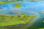 Nederland, Noord-Brabant, Werkendam, 23-08-2016; Ruimte voor de Rivier project Ontpoldering Noordwaard, de ontpolderde Polder Noordwaard met afgestorven bomen. De dijken aan de rivier de Nieuwe Merwede zijn gedeeltelijk afgegraven waardoor rivier de Nieuwe Merwede bij hoogwater via de Noordwaard en de Biesbosch sneller naar zee stromen. Gevolg van de ingrepen is dat de waterstand verder stroomopwaarts zal dalen. Ook de getijden keren terug in het gebied.<br /> National Project Ruimte voor de Rivier (Room for the River) By lowering and moving the dike of the Noordwaard polder the area will become subject to controlled inundation and function as a dedicated water detention district. Houses and farmhouses havbeen demolished and rebuild on new dwelling mounds.<br /> aerial photo (additional fee required);<br /> copyright foto/photo Siebe Swart