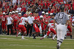 19 September 2009: Marcus King makes the sideline but his advancement is blocked in a game which the Austin Peay Governors were defeated 38-7 by the Illinois State Redbirds at Hancock Stadium on campus of Illinois State University in Normal Illinois