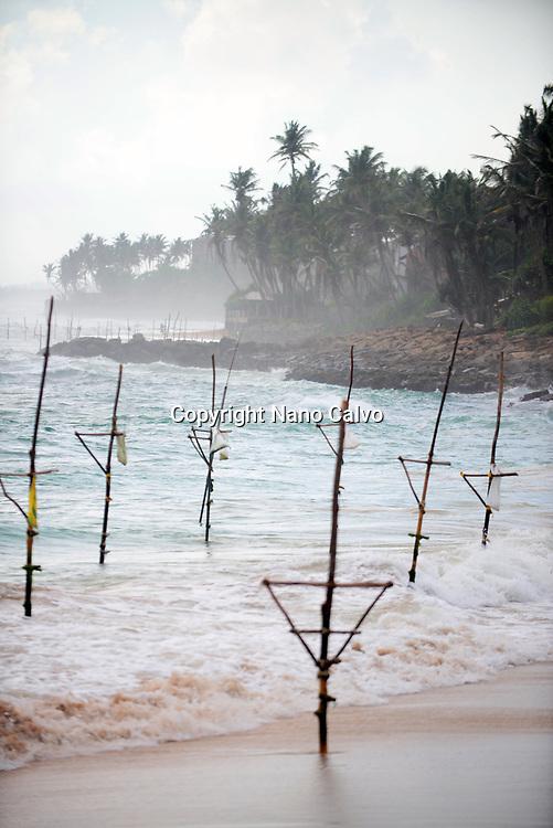 Empty fishing stilts in Ahangama coast, Sri Lanka