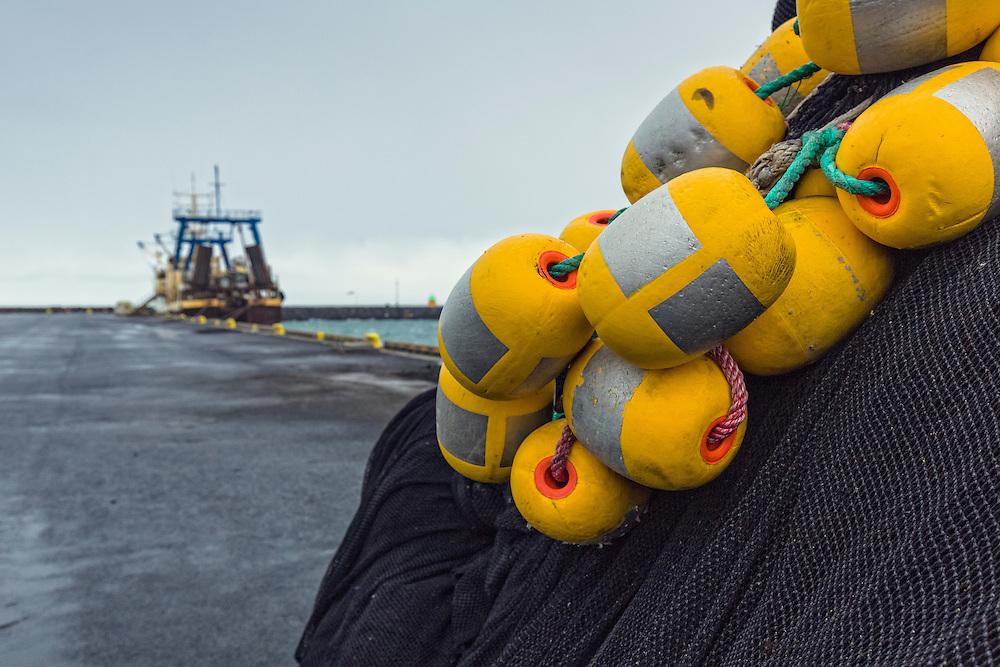 Large fishing net on a dock