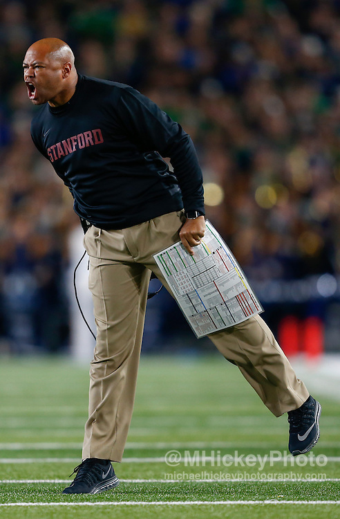 SOUTH BEND, IN - OCTOBER 15: Head coach David Shaw of the Stanford Cardinal is seen during the game against the Notre Dame Fighting Irish at Notre Dame Stadium on October 15, 2016 in South Bend, Indiana. Stanford defeated Notre Dame 17-10. (Photo by Michael Hickey/Getty Images) *** Local Caption *** David Shaw