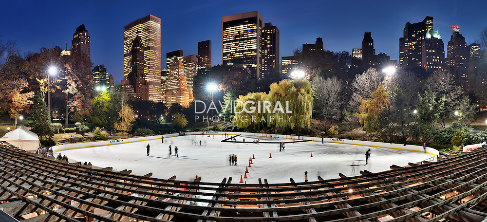 Picture of the Ice rink and New-York City Skyline as viewed from Central Park at the blue hour on a beautiful evening of November, NYC, USA