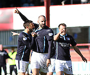 Kevin McBride congratulates Gary Harkins on his goal  - Dundee v Abderdeen, SPFL Premiership at Dens Park<br /> <br />  - &copy; David Young - www.davidyoungphoto.co.uk - email: davidyoungphoto@gmail.com