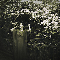 A woman dressed in vintage outfit, standing under a large bush blooming in a garden, by a decorative fence.  Hopeful facial expression and raised hands.
