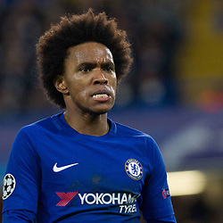 Willian of Chelsea rues a missed chance during the Champions League match between Chelsea and Brcelona at Stamford Bridge, London on Tuesday 20th February 2018.  (C) Steven Morris | SportPix.org.uk