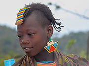 Africa, Ethiopia, Omo Valley, Young Daasanach tribe woman