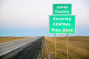 South Dakota SD USA, The border between Mountain and Central time zones in South Dakota. On the border between Jones and Jackson counties. Entering Central time zone sign
