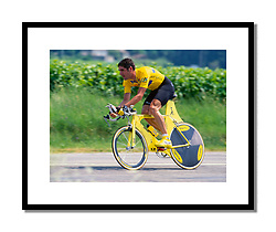 Laurent Jalabert,<br /> Dauphiné 1996<br /> <br /> Time trial bikes sometimes pushed the boundaries to the limit, before the UCI's rule-makers began to rein in some of the more radical designs.!