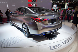 Infiniti LE electric car with charging without cables on display at Paris Motor Show 2012