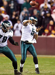 Philadelphia Eagles quarterback Donovan McNabb (5) was forced to the air in the final drive of the game -- an effort that ended the game on the 1 yard line.  The Washington Redskins defeated the Philadelphia Eagles 10-3 in an NFL football game held at Fedex Field in Landover, Maryland on Sunday, December 21, 2008.