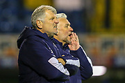 AFC Wimbledon Mnager Glyn Hughes and and Assistant Manager Nick Daws during the EFL Trophy match between Southend United and AFC Wimbledon at Roots Hall, Southend, England on 13 November 2019.