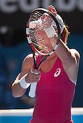 Australian Samantha Strosur claps for her home country supporters in Day 1 of Australian Open play. Stosur beat Klara Zakopalova (CZE) 6-3, 6-4 in first round play of the 2014 Australian Open at Melbourne's Rod Laver Arena. beat Klara Zakopalova (CZE) 6-3, 6-4 in first round play of the 2014 Australian Open at Melbourne's Rod Laver Arena.