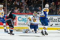 KELOWNA, CANADA - DECEMBER 1:  Nolan Maier #73 of the Saskatoon Blades makes a save against the Kelowna Rockets on December 1, 2018 at Prospera Place in Kelowna, British Columbia, Canada.  (Photo by Marissa Baecker/Shoot the Breeze)