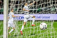 ROTTERDAM - Excelsior - Vitesse , Voetbal , Eredivisie , Seizoen 2015/2016 , Stadion Woudestein , 31-10-2015 , Vitesse speler Dominic Solanke (r) viert samen met Vitesse speler Denys Oliinyk (l) de 1-0 uit een penalty