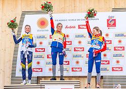 26.02.2019, Seefeld, AUT, FIS Weltmeisterschaften Ski Nordisch, Seefeld 2019, Langlauf, Damen, 10km klassisch, Flower Zeremonie, im Bild v.l. Silbermedaillengewinnerin Frida Karlsson (SWE), Weltmeisterin und Goldmedaillengewinnerin Therese Johaug (NOR), Bronzemedaillengewinnerin Ingvild Flugstad Oestberg (NOR) // f.l. Silver medalist Frida Karlsson of Sweden World champion and Gold medalist Therese Johaug of Norway Bronce medalist Ingvild Flugstad Oestberg of Norway during the flowers ceremony for the ladie's cross country 10km classic competition of FIS Nordic Ski World Championships 2019. Seefeld, Austria on 2019/02/26. EXPA Pictures © 2019, PhotoCredit: EXPA/ Stefan Adelsberger