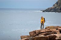 Robin de La Fuente hiking in Acadia National Park. Bar Harbor Maine.<br />