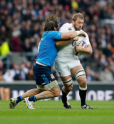 England Flanker Chris Robshaw is tackled by Italy Prop Martin Castrogiovanni - Photo mandatory by-line: Rogan Thomson/JMP - 07966 386802 - 14/02/2015 - SPORT - RUGBY UNION - London, England - Twickenham Stadium - England v Italy - 2015 RBS Six Nations Championship.