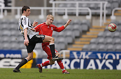 Newcastle, England - Saturday, March 10, 2007: Liverpool's Robbie Threlfall in action against Newcastle United's Andy Carroll during the FA Youth Cup Semi Final 1st Leg at St James' Park. (Pic by David Rawcliffe/Propaganda)