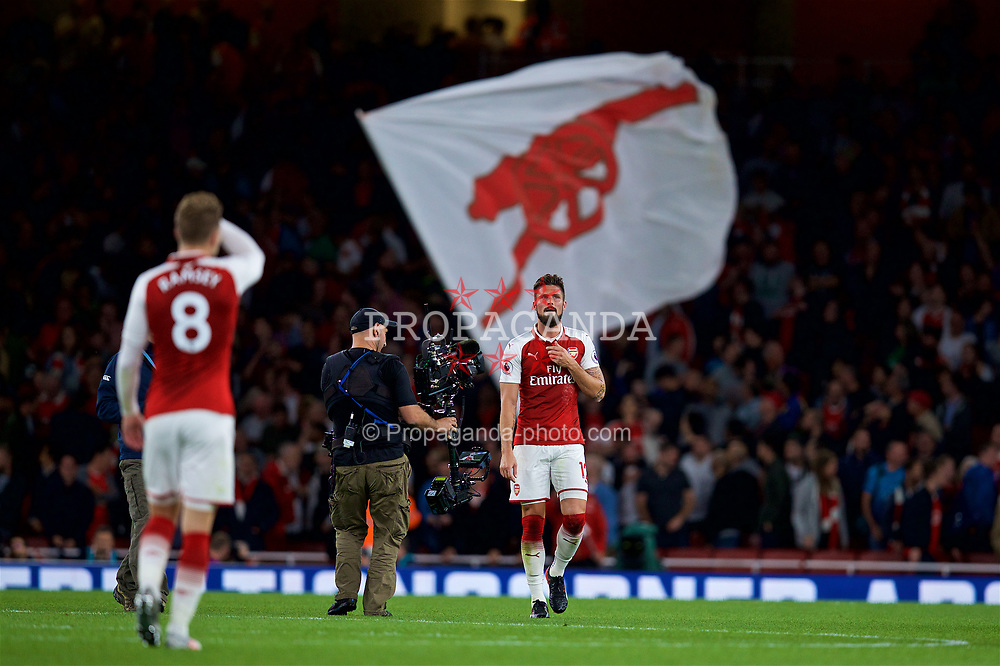 LONDON, ENGLAND - Friday, August 11, 2017: Arsenal's Oliver Giroud after the 4-3 victory during the FA Premier League match between Arsenal and Leicester City at the Emirates Stadium. (Pic by David Rawcliffe/Propaganda)
