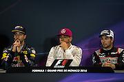 May 25-29, 2016: Monaco Grand Prix. Daniel Ricciardo (AUS), Red Bull, Lewis Hamilton (GBR), Mercedes, Sergio Perez (MEX), Force India in the FIA press conference
