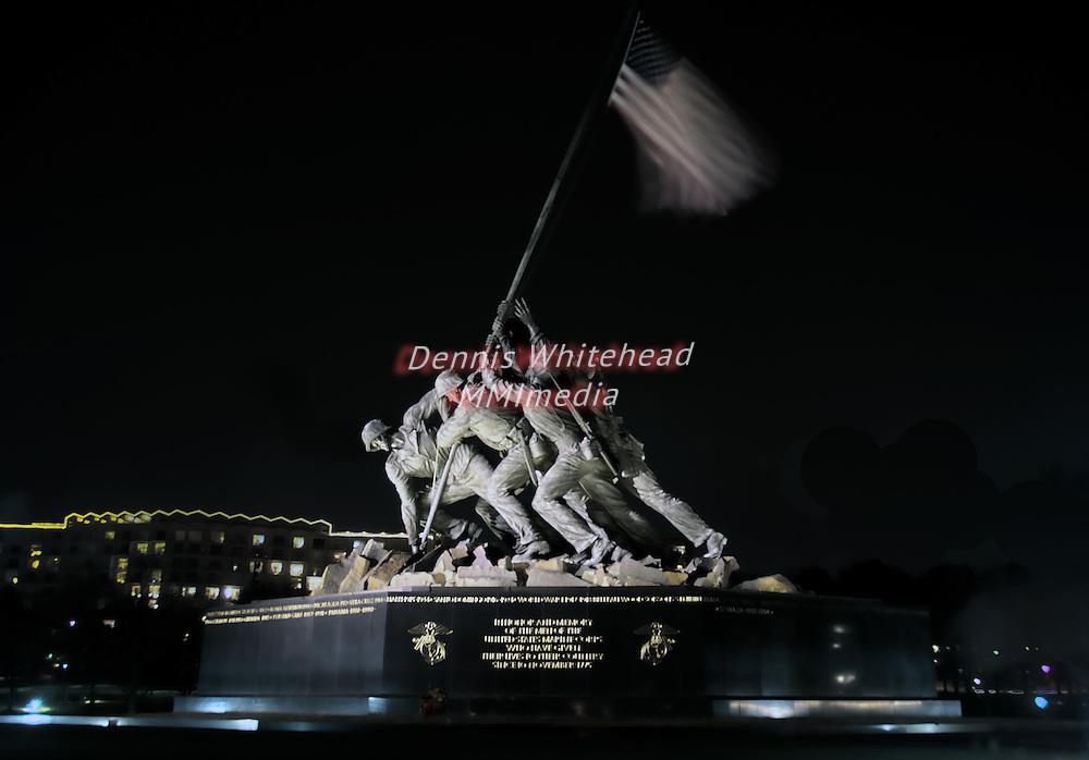U.S. Marine Corps War Memorial, the Iwo Jima Memorial, at night in an HDR rendering