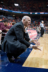 Virginia Tech Hokies Head Coach Seth Greenberg disputes a call from the sidelines during the UVA - VT game.  The Virginia Cavaliers Men's Basketball Team defeated the Virginia Tech Hokies 69-56 at the John Paul Jones Arena in Charlottesville, VA on March 1, 2007.