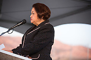 SJECCD Chancellor Emeritus Rita Cepeda presents during the Milpitas Unified School District and San Jose Evergreen Community College District Community College Extension Ground Breaking Ceremony near Russell Middle School in Milpitas, California, on November 17, 2015. (Stan Olszewski/SOSKIphoto)