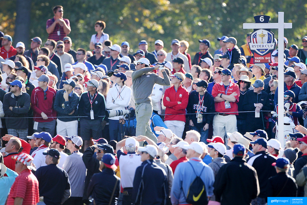 Ryder Cup 2016. Day Two. Rafa Cabrera Bello of Europe plays his tee shot on the sixth during the Saturday morning foursomes during the Ryder Cup at the Hazeltine National Golf Club on October 01, 2016 in Chaska, Minnesota.  (Photo by Tim Clayton/Corbis via Getty Images)