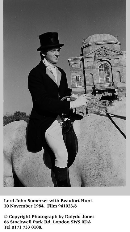 Lord John Somerset with Beaufort Hunt. 10 November 1984<br />