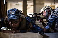 A sniper of Iraqi Federal Police Forces aims a sniper rifle at an ISIS's position at the frontline in West Mosul, Iraq.<br /> <br /> イラク連邦警察のスナイパーがISISの拠点に向かって狙いを定める。イラク、モスル西部、2017年4月撮影。
