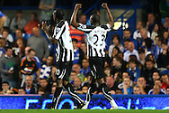London - Wednesday September 22nd 2010: Shola Ameobi of Newcastle celebrates scoring his sides 3rd goal during the Carling Cup 3rd Round match at Stamford Bridge, London. (Pic by Paul Chesterton/Focus Images)