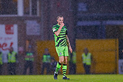 Forest Green Rovers Carl Winchester(7) in the pouring rain  during the EFL Sky Bet League 2 match between Port Vale and Forest Green Rovers at Vale Park, Burslem, England on 20 August 2019.