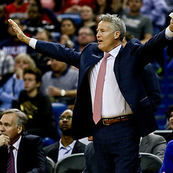 Feb 19, 2016; New Orleans, LA, USA; Philadelphia 76ers head coach Brett Brown against the New Orleans Pelicans during the second half of a game at the Smoothie King Center. The Pelicans defeated the 76ers 121-114. Mandatory Credit: Derick E. Hingle-USA TODAY Sports
