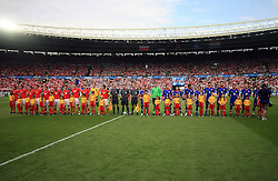 Austrian team and Croatian team before the UEFA EURO 2008 Group B soccer match between Austria and Croatia at Ernst-Happel Stadium, on June 8,2008, in Vienna, Austria.  (Photo by Vid Ponikvar / Sportal Images)
