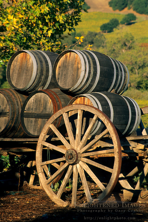 Wagon and Wine Barrels at sunset, Jepson Vineyards,near Ukiah, Mendocino County, California