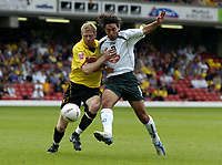Fotball<br /> Foto: SBI/Digitalsport<br /> NORWAY ONLY<br /> <br /> Watford v Plymouth Argyle<br /> Coca-Cola Championship. 28/08/2004.<br /> <br /> Brynjar Gunnarsson (lt) and David Frio battle for the ball.