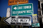 San Francisco, April 2 2012 - The Coit tower, north of North Beach, the historical poets district.