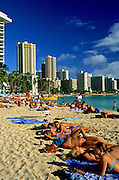 Image of Waikiki Beach and resorts along the coastline, Honolulu, Oahu, Hawaii, America West