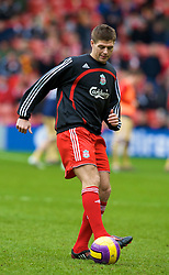 LIVERPOOL, ENGLAND - Saturday, February 23, 2008: Liverpool's captain Steven Gerrard MBE warms up before the Premiership match against Middlesbrough at Anfield. (Photo by David Rawcliffe/Propaganda)