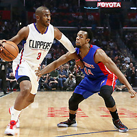 07 November 2016: Los Angeles Clippers guard Chris Paul (3) drives past Detroit Pistons guard Ish Smith (14) during the LA Clippers 114-82 victory over the Detroit Pistons, at the Staples Center, Los Angeles, California, USA.