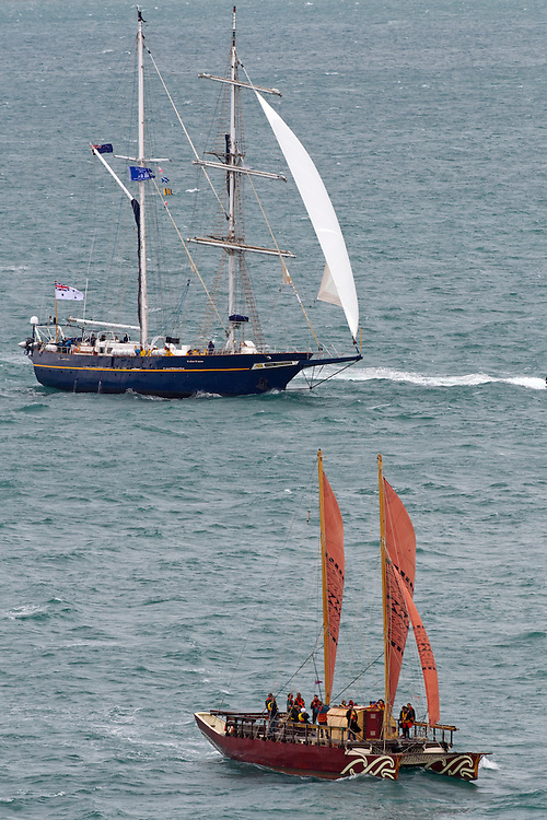 Young Endeavour from Australia, one of the tall ships to arrive for the Tall Ships Festival organised by the Maritime Museum, Auckland, New Zealand, Friday, October 25, 2013.  Credit:SNPA / David Rowland
